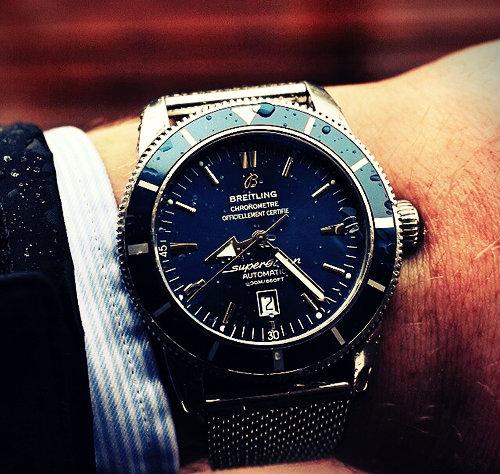 Breitling Superocean Azul Dial Pulsera De Metal Para Hombre Reloj
